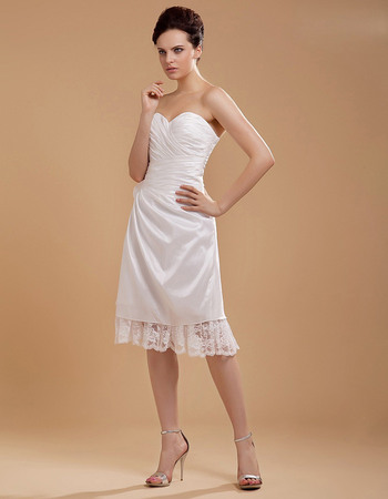 Simple Sweetheart Knee Length Taffeta Wedding Dresses with Ruffled Lace Hem