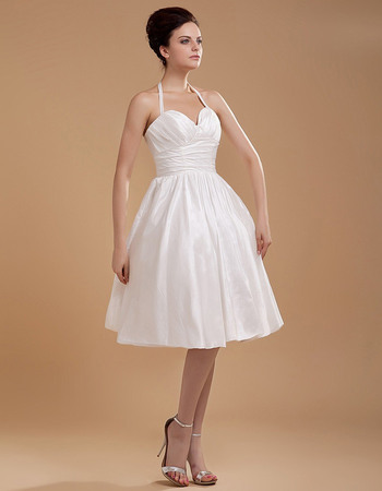 Simple Ruched A-line Halter Neck Knee Length Taffeta Wedding Dresses