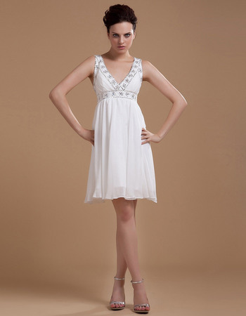 Exquisite Empire Short Beach Chiffon Wedding Dresses with Beaded Neck and Waist