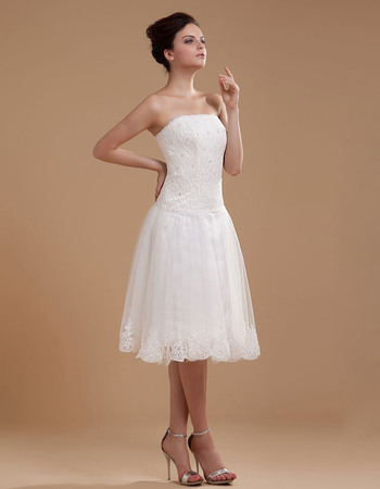 Graceful Strapless Knee Length Reception Lace Wedding Dresses with Tulle Skirt