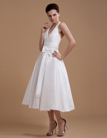 Fabulous Beaded Halter Neck Tea Length Wedding Dresses with Shirred Detail Waist