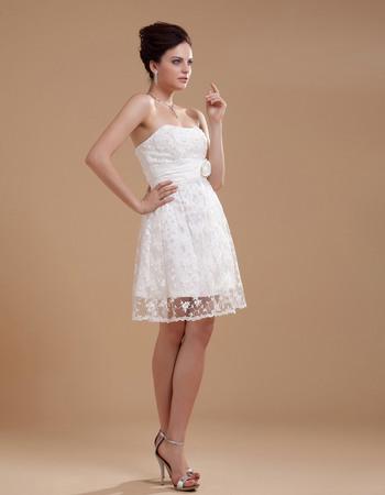 Graceful Empire Strapless Mini Lace Wedding Dresses