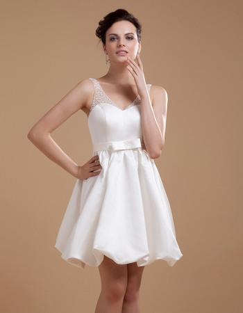 Discount Custom Beaded V-Neck Short Reception Satin Wedding Dresses