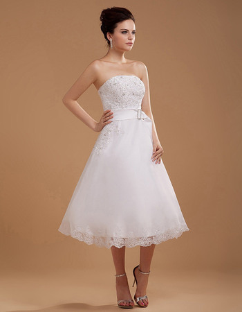 Elegant A-Line Strapless Tea Length Organza Wedding Dresses with Appliques Bodice
