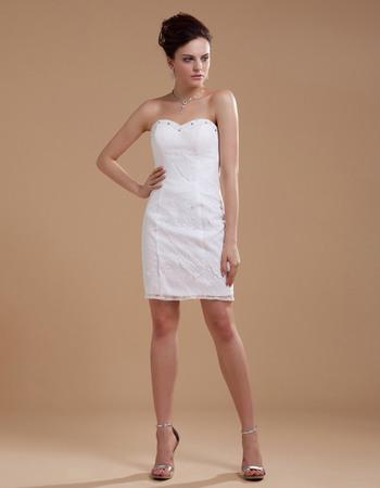 Chic Sweetheart Sheath Sweetheart Mini Lace Wedding Dresses