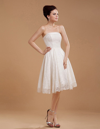 Graceful Simple A-Line Strapless Reception Lace Wedding Dresses
