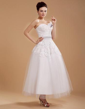 Designer Custom Casual A-line Sweetheart Tea Length Lace Short Reception Wedding Dresses