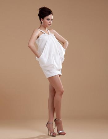 Chic Column Wide Straps Taffeta Mini Wedding Dresses with Draping
