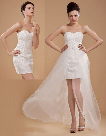 Modern All-over Appliques Beading Short Wedding Dresses with Detachable Tulle Trains