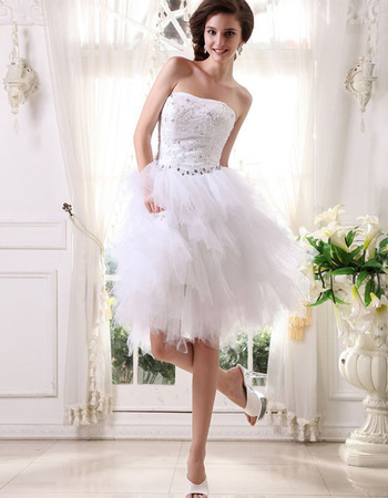 Beautiful Crystal Beading Strapless Short Wedding Dresses with Bubble Tulle Skirt