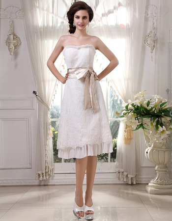 Inexpensive A Line Lace Knee Length Short Reception Wedding Dresses For Summer Beautiful Ruffled