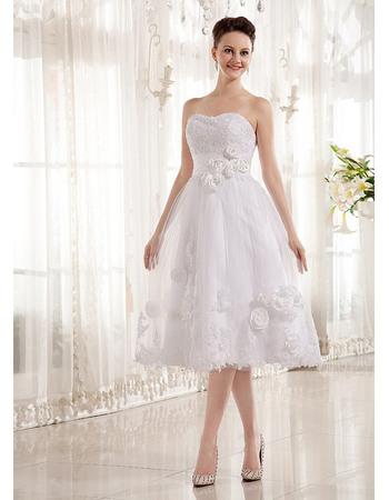 Beautiful A-line Sweetheart Knee Length Tulle Wedding Dresses with Beaded Appliques