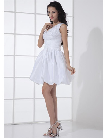 Affordable A-line Double V-Neck Lace and Taffeta Short Reception Wedding Dresses/ Beaded Beach Bride Gowns with Bubble Hem