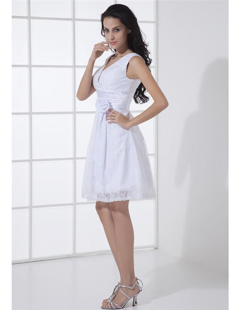 Lovely A-line Double V-Neck Mini Lace Wedding Dresses with Hand-made Flowers