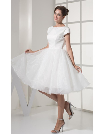 Simple A-Line Bateau Neck Reception Wedding Dresses with Cap Sleeves