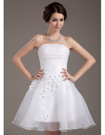 Romantic Ruched Strapless Reception Organza Wedding Dresses with 3D Flowers