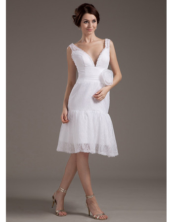 Pretty Double V-Neck Knee Length Lace Wedding Dresses with Hand-made Flowers
