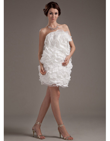 Fashionable Strapless Mini Wedding Dresses with Breathtaking All-over Tiered Ruffled
