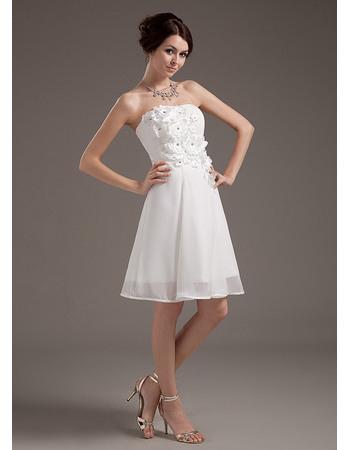 Romantic Strapless Short Beach Chiffon Wedding Dresses with 3D Flowers Bodice