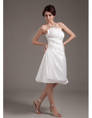 Perfect Strapless Short Wedding Dresses with Asymmetrical Waistline and Pearl beading