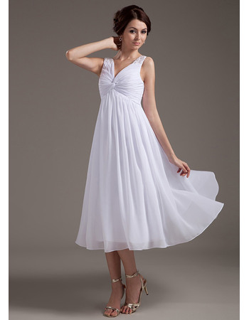 Simple Pleated Empire V-Neck Tea Length Chiffon Wedding Dresses with Twist Drape Detail
