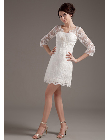 Discount Petite Mini Lace Wedding Dresses with 3/4 Long Sleeves
