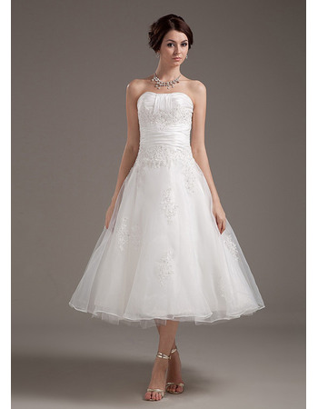 Alluring Beading Appliques Tea Length Organza Wedding Dresses with Slight Pleated Detail