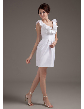 Perfect Ruffled V-Neck Mini Taffeta Wedding Dresses with Slight Pleated Detail