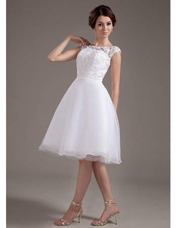 Sipmle Casual A-Line Reception Organza Wedding Dresses with Floral Lace Bodice