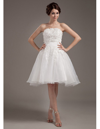Romantic Appliques Strapless Reception Organza Wedding Dresses with Floral Lace Jackets