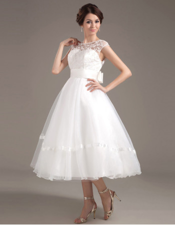 Pretty Low Back Tea Length Organza Wedding Dresses with Beaded Lace Bodice