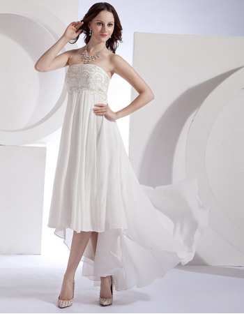 Ethereal Beaded Bodice Empire Chiffon High-Low Wedding Dresses