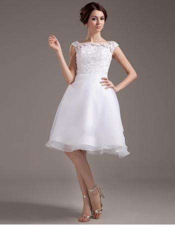 Custom Pretty Lace Bodice Reception Wedding Dresses with Organza Skirt