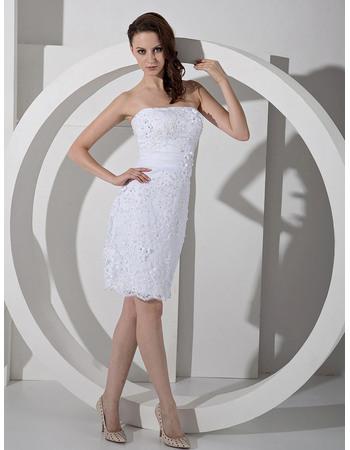 Beautiful Sexy Sheath Strapless Mini Satin Wedding Dresses with Slight Pleated Detail