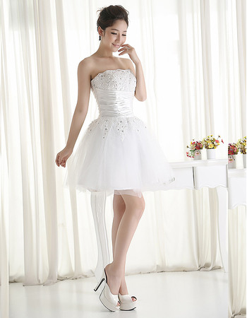 Affordable Beading Appliques Strapless Short Tulle Wedding Dresses with Pleated Waist