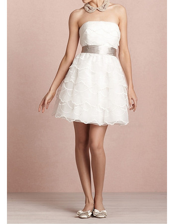 Chic A-Line Strapless All-over Tiered Organza Short Wedding Dresses
