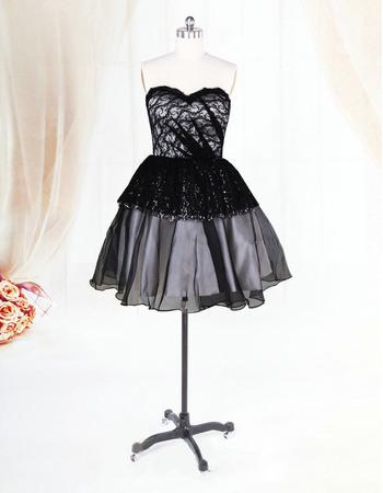 Custom Black Organza Sweetheart Short Beach Wedding Dresses for Summer