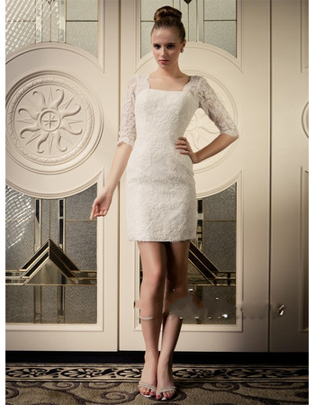 Discount Sheath Low Back Lace Wedding Dresses with Half Sleeves