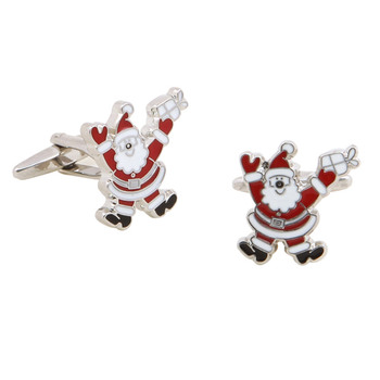 Christmas Father Santa Claus Ornaments Cufflinks with Gift Box