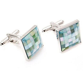 Discount Square Agate Conch Cufflinks for Party/ Wedding/ Business