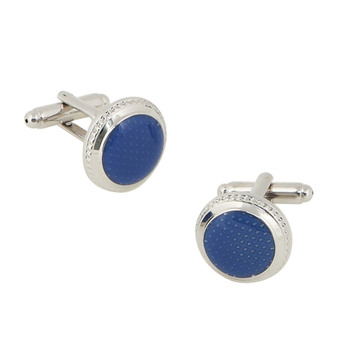 Stunning Round Blue Mens' Cufflinks for Party/ Wedding/ Business
