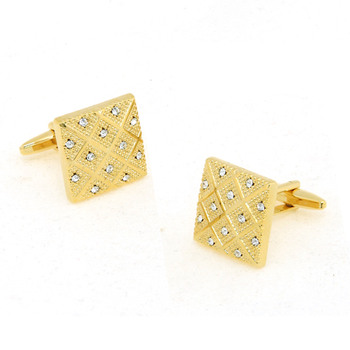 Square Golden Diamond Mens' Cufflinks for Party/ Wedding/ Business
