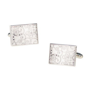 Rectangle Engraving Ornaments Cufflinks for Party/ Wedding/ Business