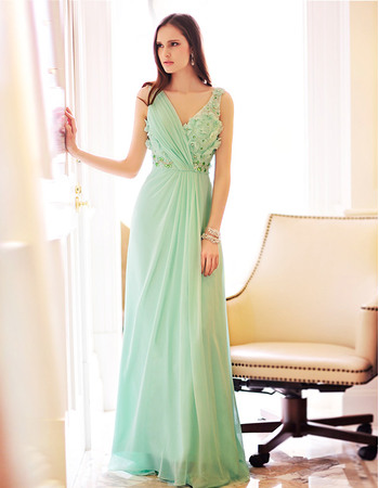 Affordable Column Sexy Chiffon V-Neck Floor Length Evening Dresses