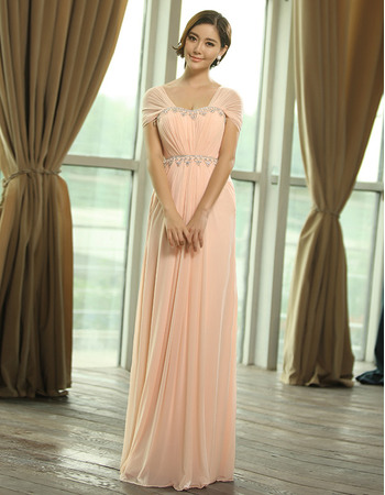 Excellent Column/ Sheath Square Cap Sleeves Chiffon Floor Length Empire Evening Dresses