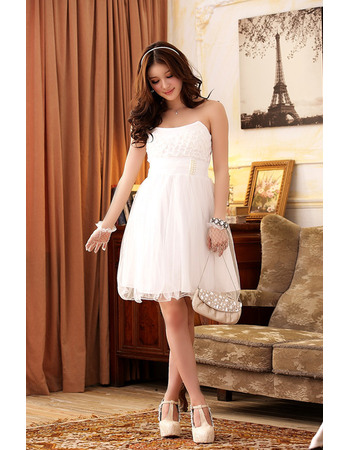 Affordable Elegant Short Chiffon Strapless Homecoming/ Party Dresses