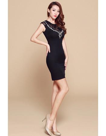 Colletion Black Column/ Sheath Short Satin Homecoming/ Party Dresses