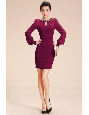 Gorgegous Sheath/ Column Short Chiffon Homecoming Dresses with Long Sleeves