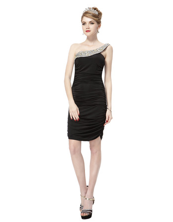 Discount One Column/ Sheath Shoulder Short Black Satin Homecoming/ Party Dresses