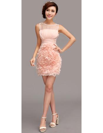 Romantic Column/ Sheath Short Chiffon Ruffle Homecoming/ Party Dresses